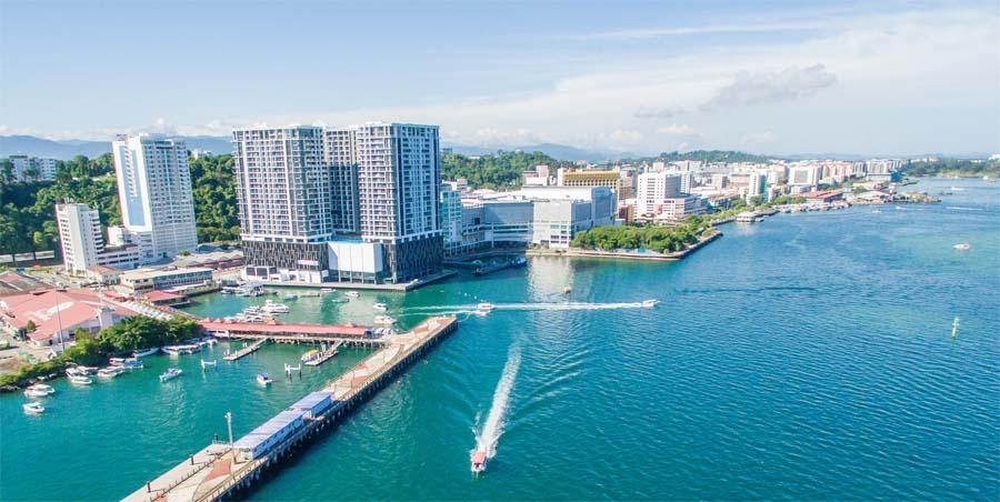 Kota Kinabalu aus der Luft