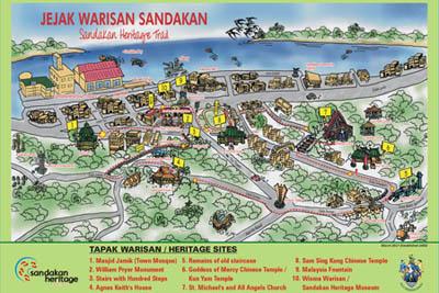 Karte des Sandakan Heritage Trail