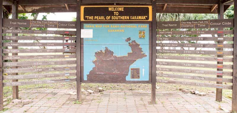 Bako National Park Karte der Wanderwege